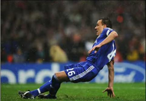 John Terry slips, and misses his penalty